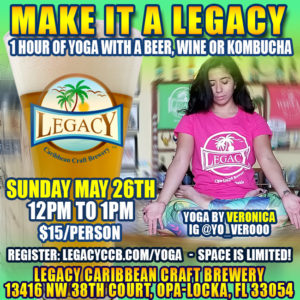 One hour of Yoga at Legacy Caribbean Craft Brewery