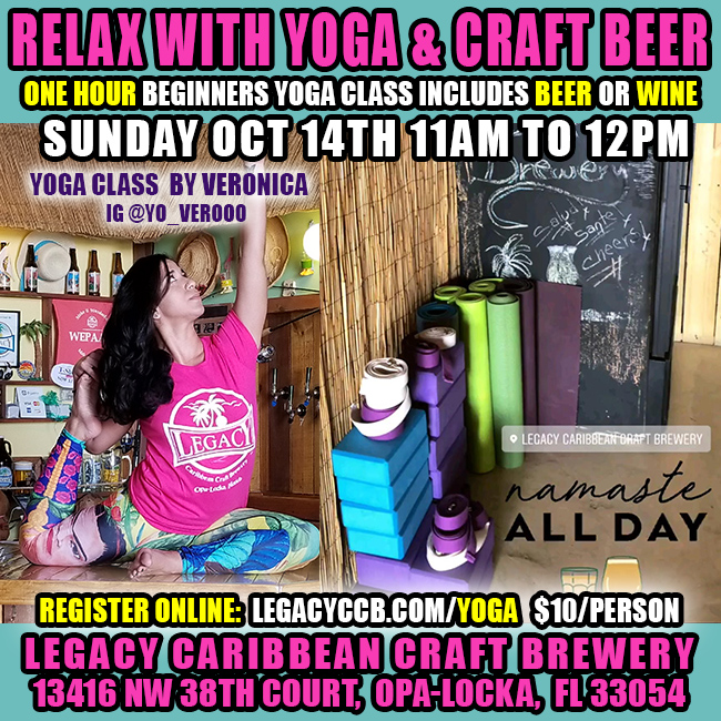 Yoga And A Beer at Legacy Brewery in Opa-Locka, FL
