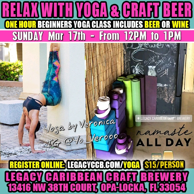 Yoga Class and a Craft Beer or Kombucha at Legacy Brewery Miami Opa Locka Florida