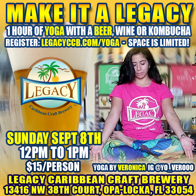 Legacy Brewery Yoga and Beer on Sept 8 2019
