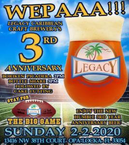 Legacy Caribbean Craft Brewery 3rd Anniversary
